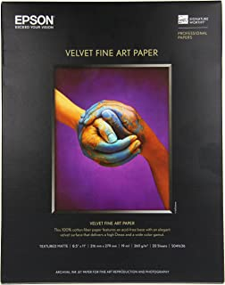 Epson Velvet Fine Art Paper (8.5×11 Inches, 20 Sheets) (S041636)