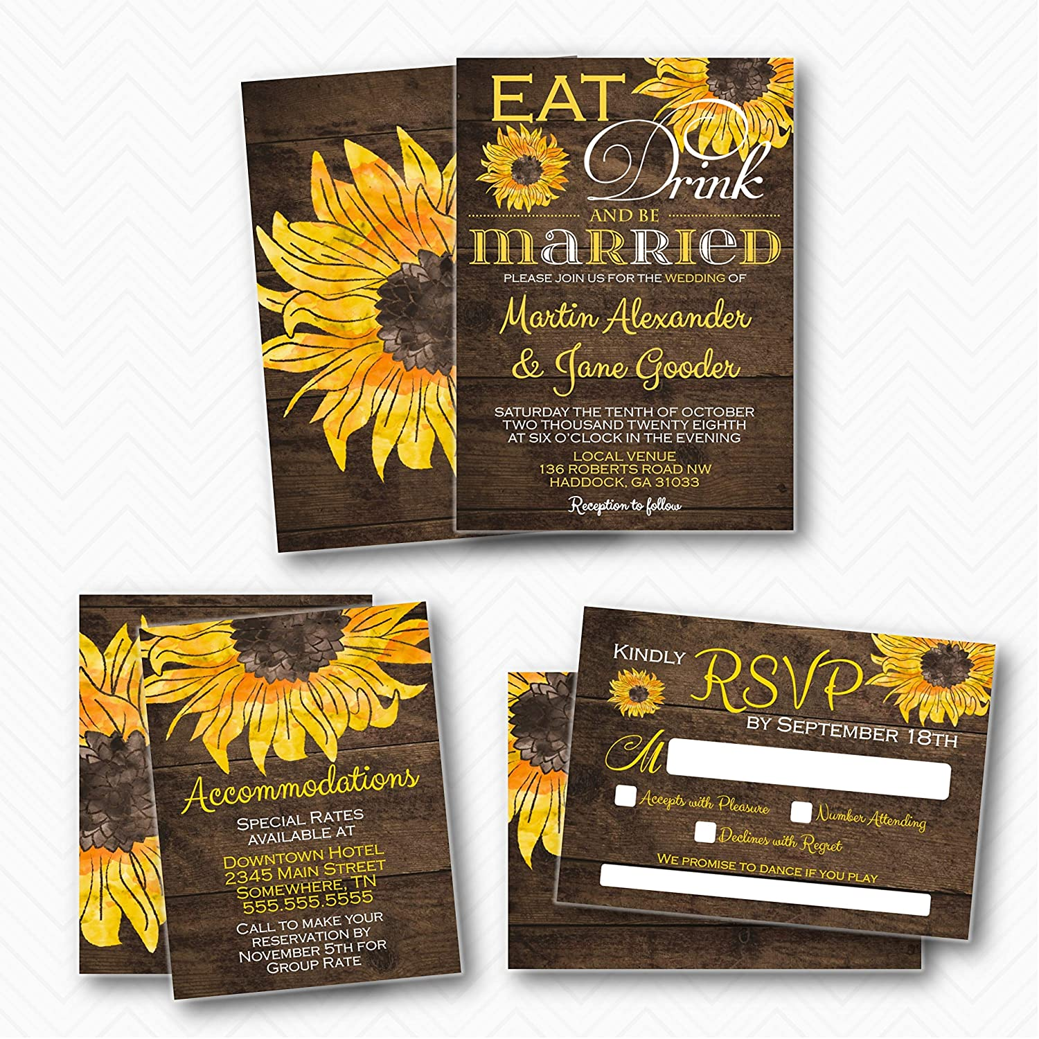 Rustic Sunflower Free shipping Eat Drink and Wedding Sui Elegant Be Invitation Married
