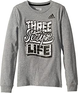 Long Sleeve Three Stripe Story Tee (Big Kids)