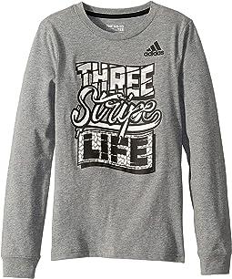Long Sleeve Three Stripe Story Tee (Big Kids)