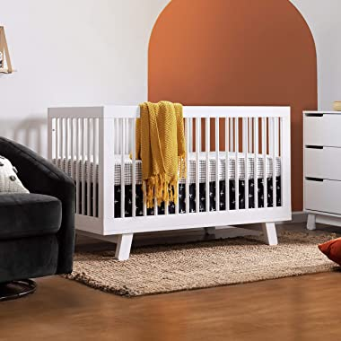 Babyletto Hudson 3-in-1 Convertible Crib with Toddler Bed Conversion Kit in White, Greenguard Gold Certified , 53.75x29.75x35