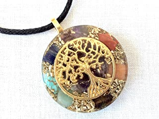 Orgone energy pendant necklace with golden Tree of Life and Seven Chakra healing stones. EMF protection. Made in USA