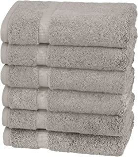Pinzon Organic Cotton Hand Towels (6 Pack), 100% Cotton, Marble Grey, Hand Towel 6 - Pack