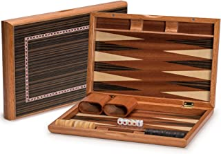 Yellow Mountain Imports Wooden Inlaid Piano Lacquer Backgammon Set, Dorne - 13 Inches - Wooden Playing Pieces and Accessories