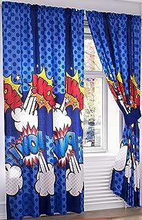 Primor Casa Capitan Comic Book Super Heroes Bedroom Curtain Panel Set for Boys, 4 Pieces, Blue, Rich Cotton (55
