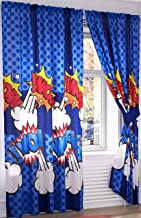 Primor Casa Capitan Comic Book Super Heroes Bedroom Curtain Panel Set for Boys, 4 Pieces, Blue, Rich Cotton (55