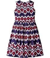 Oscar de la Renta Childrenswear Ikat Cotton Gathered Skirt Party Dress (Toddler/Little Kids/Big Kids)
