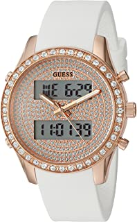 GUESS Women's U0818L3 Trendy Stainless Steel Multi-Function Watch with Digital Dial and Silicone Strap Buckle