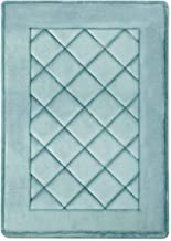 MICRODRY ExtraThick SoftLux Charcoal Infused Diamond Embroidered Memory Foam Bath Mat with GripTex Skid Resistant Base (17...