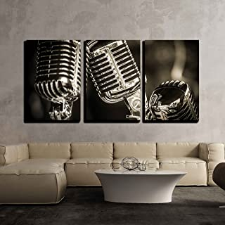 wall26 - 3 Piece Canvas Wall Art - Closeup of Chromed Retro Recording Studio Microphones - Modern Home Decor Stretched and Framed Ready to Hang - 16