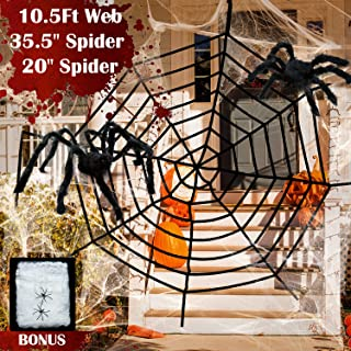 Giant Spider Web Halloween Spider Decorations, 2 Large Hairy Spiders, Super Stretch Cobweb, Spooky Spider Webbing for Outd...
