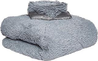 Faux Fur Luxe 2724296058955 Fur Soft 6 Piece Blanket Set, King, Grey, W 56.2 x H 48.2 x D 22.2 cm
