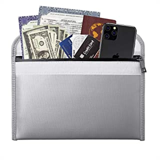 Fireproof Money Bag - 10.6x6.7 Inch Fireproof Wallet Bag,Waterproof Storage Pouch,Small Fireproof Safe Bag for Cash Passpo...