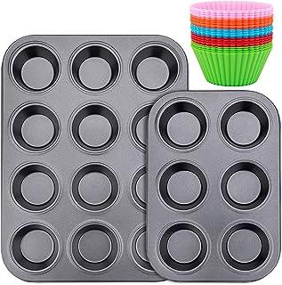 Muffin Pan, Standard 12&6 Cup Cupcake Tin Non-Stick Bake Ware Bar Baking Pan and Jumbo Muffin Pans, 20PCS Silicon Cake Cup...