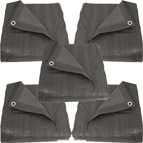 high quality Sunnydaze 16x20 Set of 5 Tarps, popular Heavy Duty Multi-Purpose, Outdoor Reversible, Dark outlet online sale Gray sale