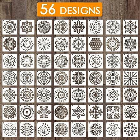 Outivity 56 Pcs Mandala Pochoirs pour Peinture sur Bois, Roche, Tissus, Métal, Meubles et Mur - Flexible & Réutilisable (9x9 cm)