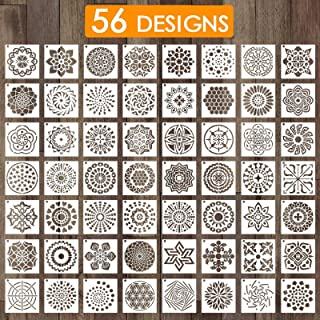 Outivity 56 Pack (3.6 x 3.6 Inch) Painting Drawing Mandala Stencils Template for Stones Floor Wall Tile Fabric Wood Burnin...