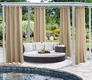 "Outdoor Décor Coastal Grommet Panel Outdoor curtains, 50"" Wide by 96"" Long, khaki"