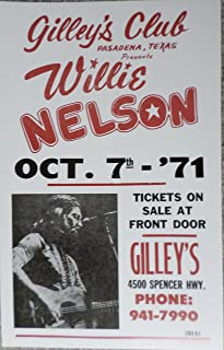 Willie Nelson at Gilleys Club Pasadena Texas Concert Poster