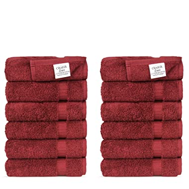 Chakir Turkish Linens Hotel & Spa Quality, Highly Absorbent 100% Turkish Cotton Washcloths (12 Pack, Cranberry)