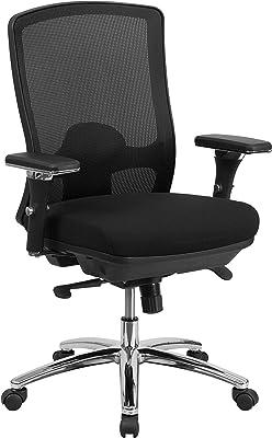 Flash Furniture HERCULES Series 24/7 Intensive Use Big & Tall 350 lb. Rated Black Mesh Multifunction Swivel Ergonomic Office Chair