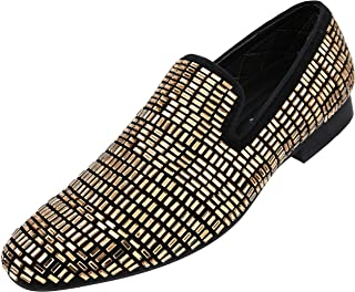 3cb6ca45943 Amali Men s Faux Velvet Smoking Slipper Encrusted with Faux Crystal Glass  Jewels Dress Shoe