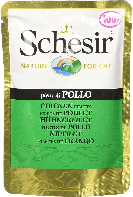 Schesir Gato Sobres 100 gr filetes de Pollo: Amazon.es ...