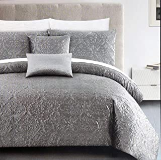 Tahari Bedding 3 Piece Full/Queen Size Luxury Velvet Duvet Cover Set Shimmery Metallic Silver Gray with an Embroidered Quilted Floral Pattern - Gracie Quilted Velvet, Chrome