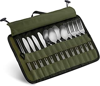 13 Piece Stainless Steel Family Cutlery Picnic Utensil Set with Travel Case for Camping | Hiking | BBQs - Includes Forks |...