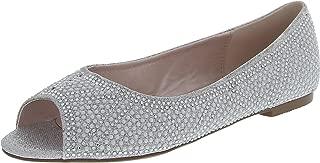 Women's Peep Toe Glitter Crystal Rhinestone Faux Pearl Dress Flat