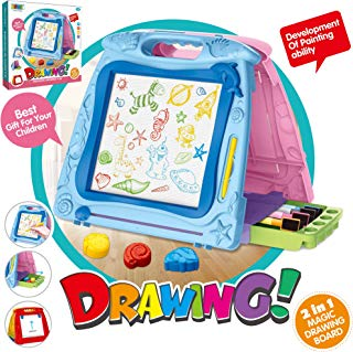 5 in 1 Portable Kids Easel Table-top Double Sides Magnetic Drawing Board, Kids Magna Drawing Doodle Board Sketch Erasable Pad & Whiteboard Dry Easel for Writing Kids Boy Girl Children (Blue&Pink)