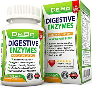 Dr. Bo Digestive Enzyme Supplements - Enzymes for Digestion with Lipase Amylase Bromelain and Prebiotics - Daily Gut Health Proteolytic Supplement Pills for Gas Bloating IBS Relief and Digest Gluten