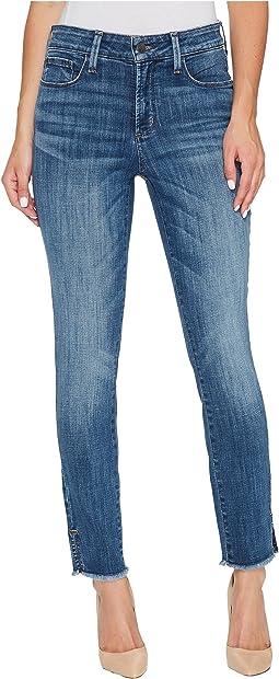 NYDJ - Ami Skinny Ankle Jeans w/ Fray Side Slit in Crosshatch Denim in Newton