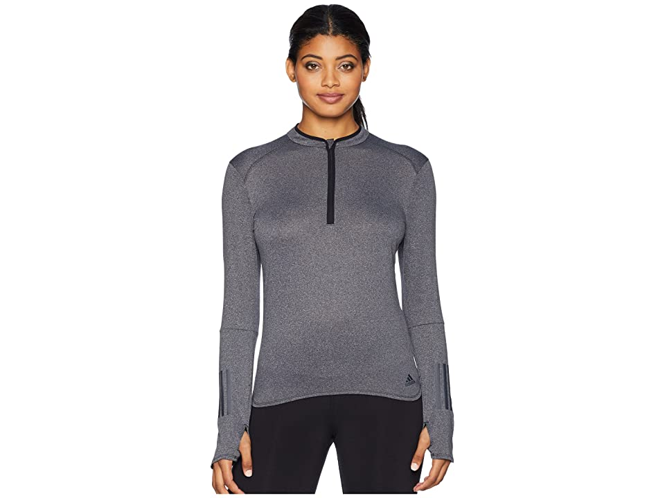 adidas Response 1/2 Zip Long Sleeve Tee (Black/Colored Heather) Women