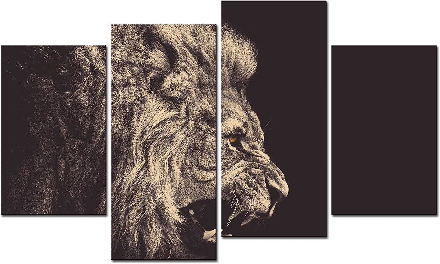 SmartWallArt - Animal Paintings Wall Art a Ferocious Lion Crack and Roar Staring Into the Distance 4 Pieces Picture Print on Canvas for Modern Home Decoration
