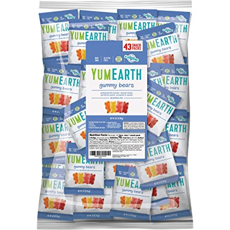 YumEarth Gluten Free Gummy Bears, Assorted Flavors, Fruit Flavors, 43 Snack Packs