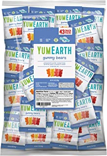 YumEarth Gluten Free Gummy Bears, Assorted Flavors, 0.7 Ounce Snack Packs, 43 pack - Allergy Friendly, Non GMO (Packaging May Vary)