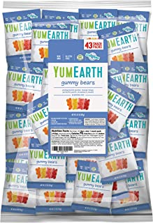 YumEarth Gluten Free Gummy Bears, Assorted Flavors, 0.7 Ounce Snack Packs, 43 pack - Allergy Friendly, Non GMO (Packaging May Vary) (1501)
