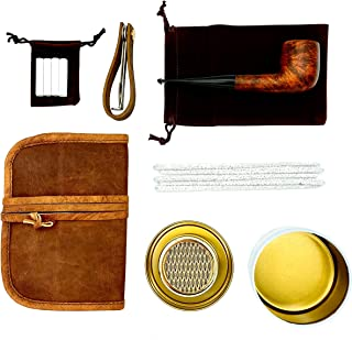 Pilgrim Pipe Co. Tobacco Smoking Pipe, Authentic Italian Briar Wood Pipe, Genuine Leather Tobacco Pipe Pouch, 8 oz Humidor, Accessories (Pipe tool/Stand/9mm Filters/Pipe Cleaners/Small Bag/Box)
