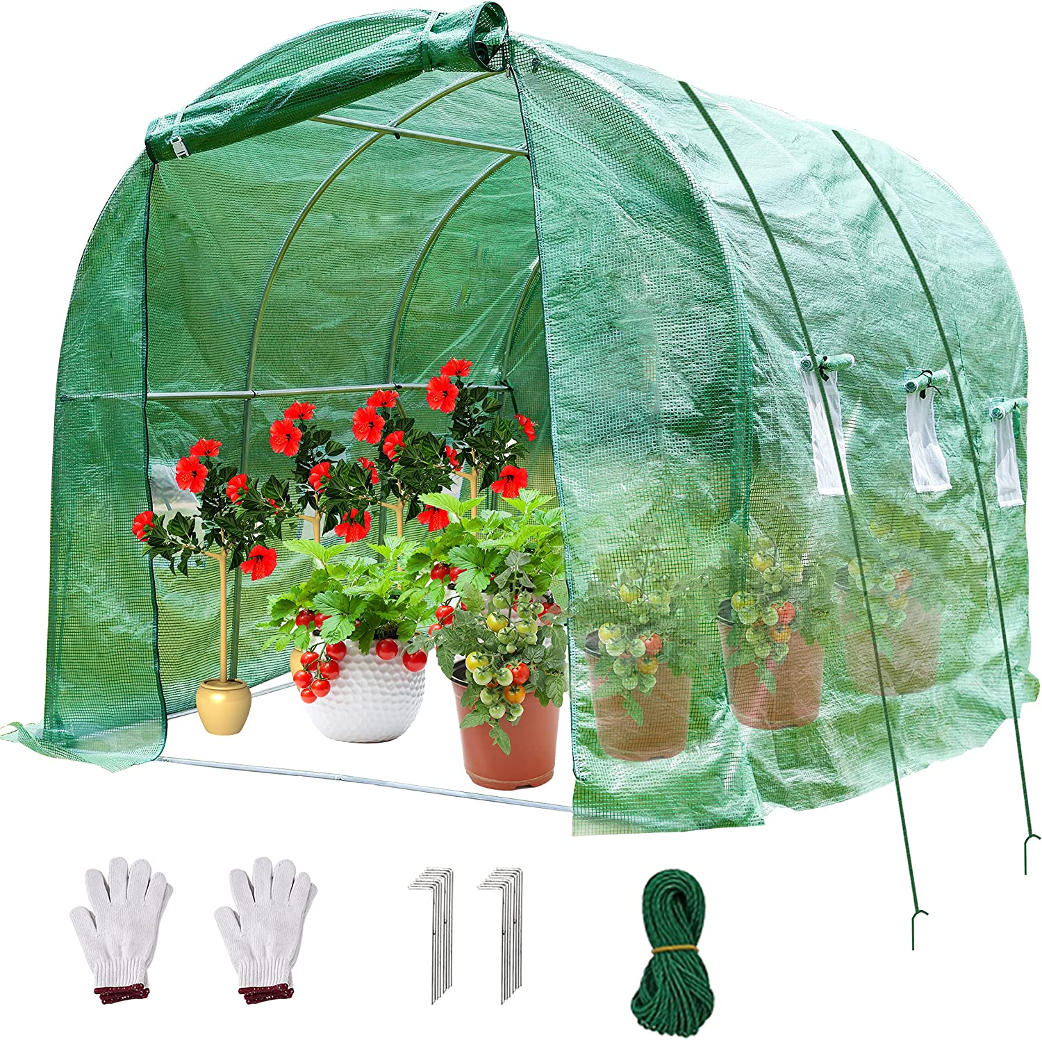 SUNGIFT Portable Greenhouse 10' x 7' x 7' Large Walk-in Green Garden Plant Hot Green Houses Tunnel Tent, Greenhouses for Outdoors with 2 Zippered Doors, 6 Screen Windows, 4 Ropes and 2 Gloves