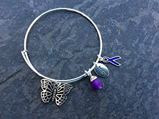 Lupus or Alzheimer's Awareness Bracelet with Butterfly and Purple Ribbon Charms