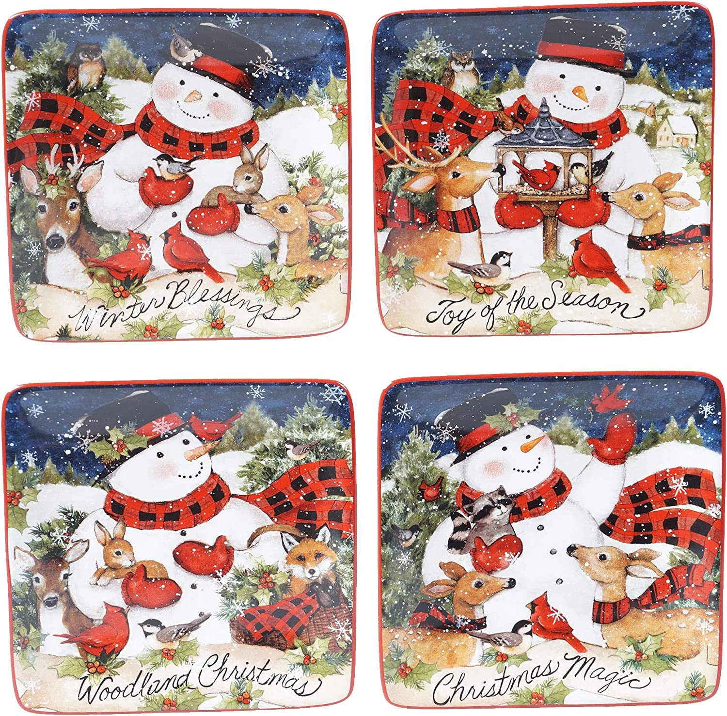 UKN Magic Oakland Mall of Christmas Snowman Plates 6-inch Canape Max 57% OFF Se Luncheon