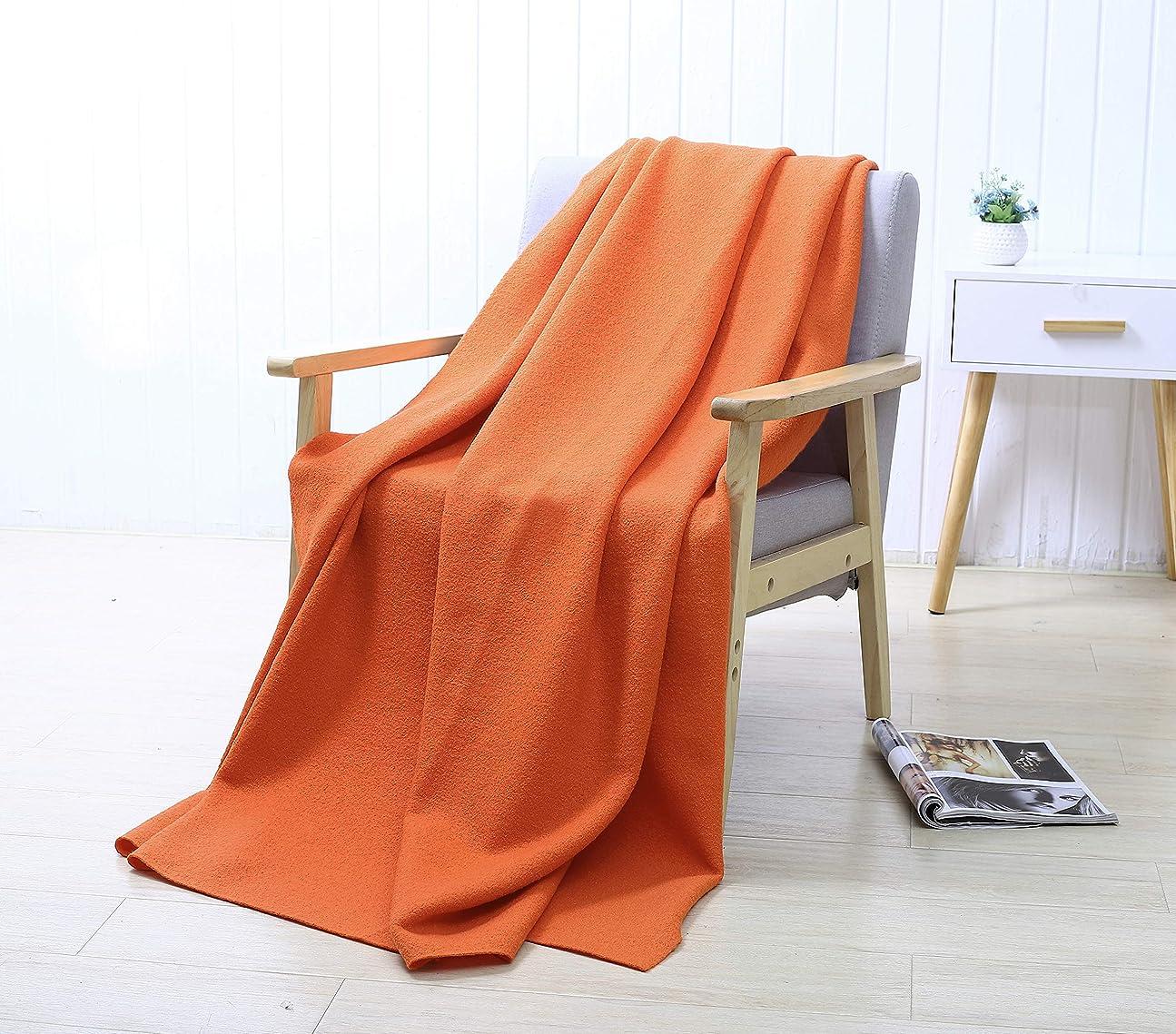 利点リアル嫌いPuTian Home - 100%オーストラリア産メリノウールブランケット‐ぬくぬくあったか純毛毛布‐オレンジ色‐140 X 178cm