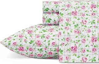 Betsey Johnson Plaid Roses Sheet Set, King, Lt-Pastel Pink