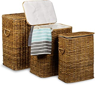 Relaxdays 10020210_533 Panier Lot de 3 Corbeille rotin tressé rectangulaire Coffre à Linge HxlxP: 54,5 x 45,5 x 33,5 cm 69...