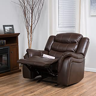 Christopher Knight Home 296446 Merit Brown Faux Leather Glider Recliner Club Chair