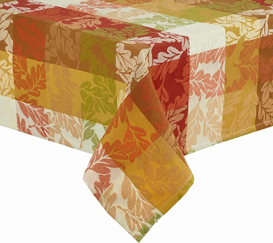 Harvest Autumn Leaves Forever Fall Tablecloth Woven Jacquard Fabric 52 X 52 Square