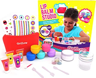 GirlZone Lip Gloss Kit Make Your Own Lip Balm Fun Makeup Set for Girls, 22 Pieces Incl. Makeup Bag, Great Gifts for Girls