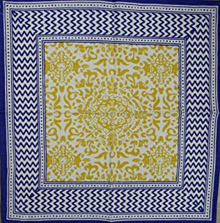 India Arts French Country Geometric Print Tablecloth Square Cotton Table Linen Beach Sheet Beach Throw (Yellow Blue, Napkin 18 x 18 inches)