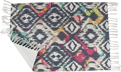 Bless International PET Home and Kitchen Rug Non Accent Area Carpet for Kids and Living Room,Home Decor,Picnic,Travel, (Ethnic Texture Turkish Ornament)